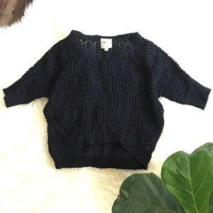 Hi-low Slouchy Knit Sweater 3/4 sleeve
